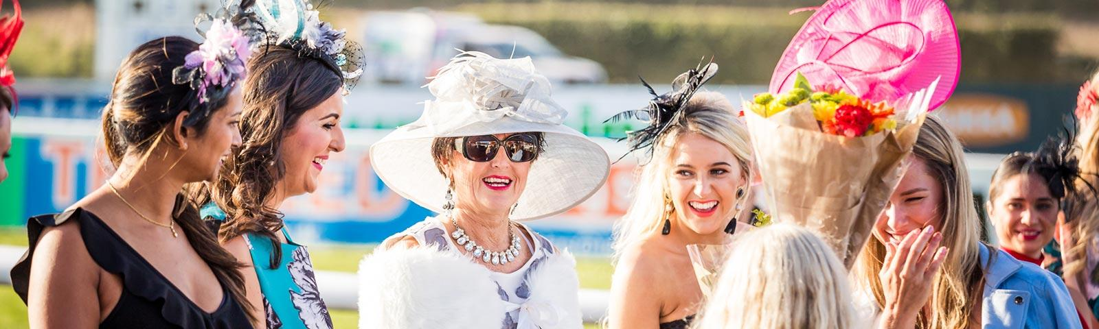 Group of dressed up ladies at Sedgefield Racecourse.