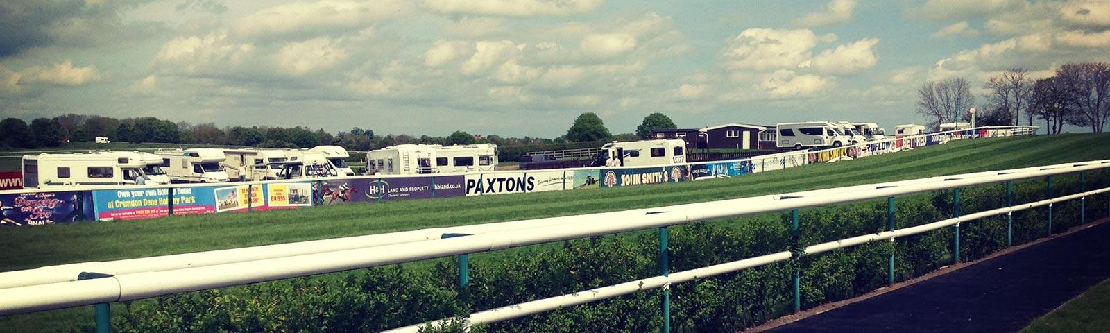 Camping caravans set up in the centre course at Sedgefield Racecourse.