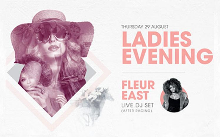 Promotional banner for Ladies Evening at Sedgefield Racecourse featuring Fleur East.